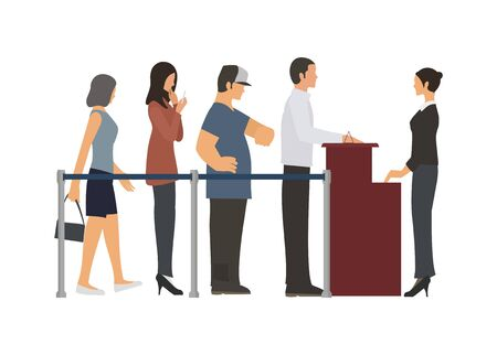 Group of people standing in a row. Simple flat illustration