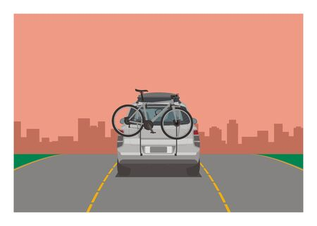 Car carrying bicycle. Simple flat illustration