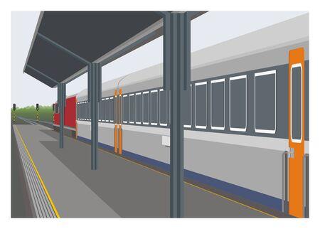 Passenger train stops at railway station platform