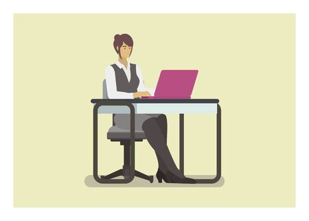 Female employee typing laptop. Simple illustration.