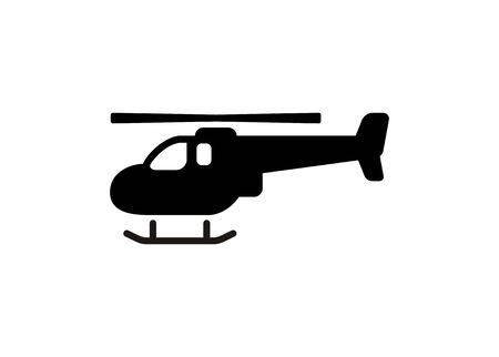 Helicopter icon. Simple illustration in black and white