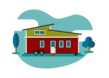 Moveable tiny house. Simple flat illustration