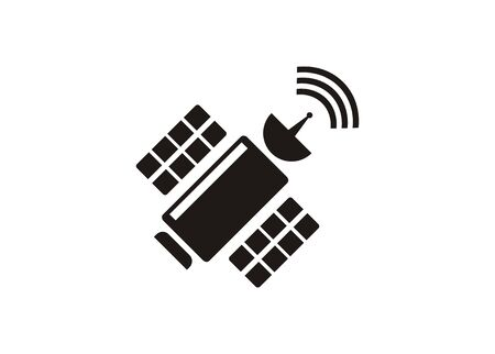 Satellite with signal. Simple illustration in black and white. Stock Illustratie