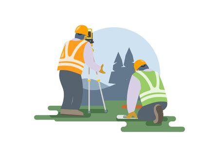 Surveyor team measuring land. Simple illustration.