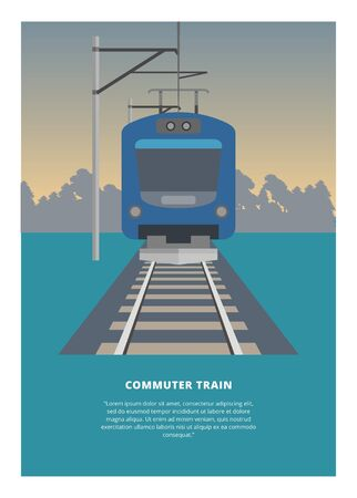 Traveling by electric commuter train. Simple flat illustration