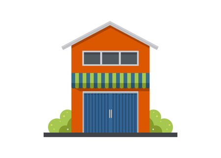 Shop house building with closed folding door. Simple illustration
