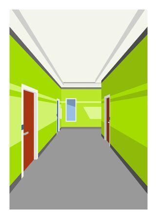Hotel corridor. Simple flat illustration.