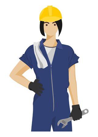 Female technician. Simple flat illustration