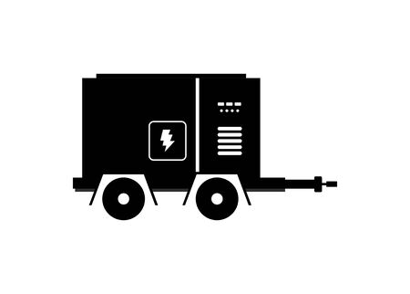 Moveable generator engine. Simple illustration in black and white