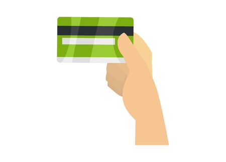 Hand showing credit card. Simple flat illustration