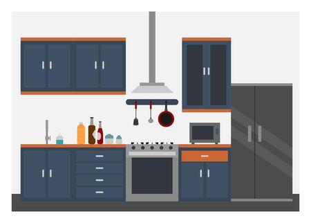 Kitchen interior. Simple flat illustration.