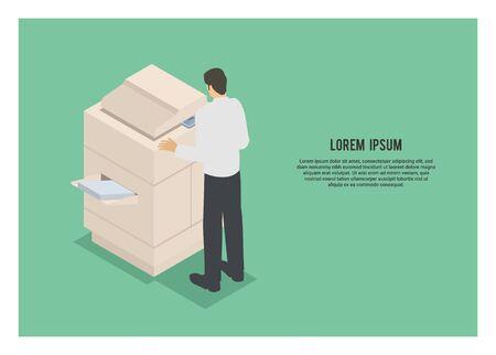Men using photocopy machine. Simple flat illustration. Illustration