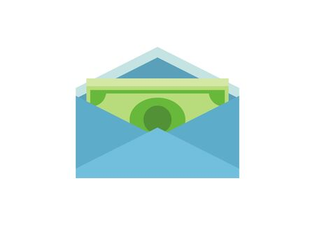 Money inside envelope. Simple flat illustration. Ilustracja