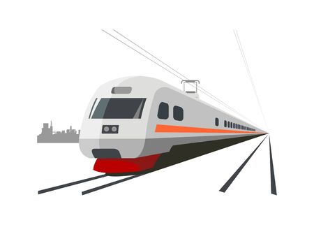 Fast train runs on the double track. Industrial area silhouette background. Simple flat illustration. Illusztráció