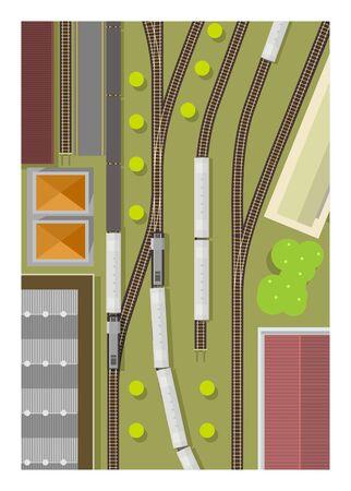 Train station. Railway yard. Top view. Simple illustration. Ilustracje wektorowe