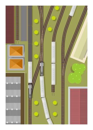 Train station. Railway yard. Top view. Simple illustration. Illustration