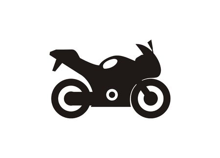 Racing motorcycle. Simple illustration in black and white