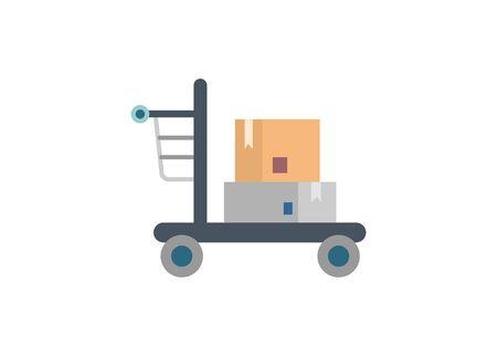 Wholesale shopping cart. Simple flat illustration