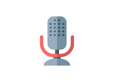 Broadcaster microphone. Simple flat illustration.