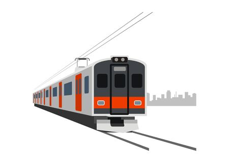 Short electric commuter train. Simple flat illustration