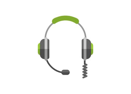Headphone with spiral wire. Simple flat illustration