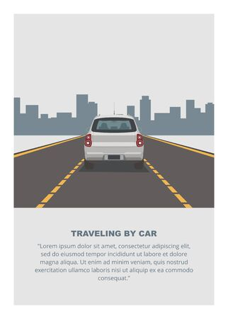 Traveling by car. Simple flat illustration.