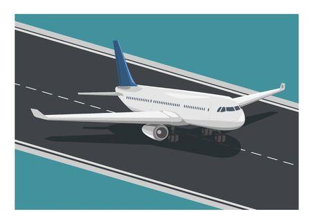 Airplane running on the runway. Simple flat illustration Ilustracja