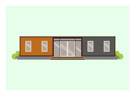 Container house building. Simple flat illustration.
