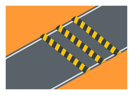 Small road with speed bumps. Simple flat illustration. Ilustracja
