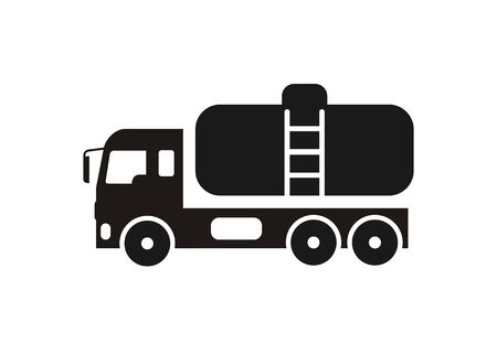 Tanker truck. Simple illustration in black and white