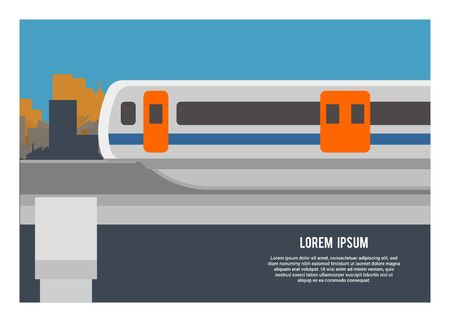 Monorail commuter train. Simple flat illustration Ilustracja