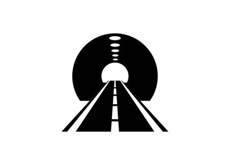 Road tunnel. Simple illustration in black and white Illusztráció