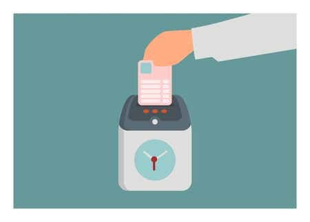 Hand inserting form paper into attendance clock machine. Simple flat illustration