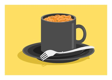Curly instant noodle in a cup. Simple flat illustration