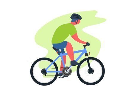 Biker cycling. Simple flat illustration