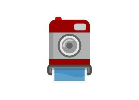 Instant print camera. Simple flat illustration.