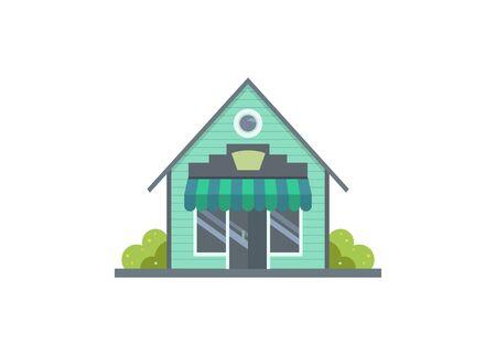 Wooden shop house building. Simple flat illustration Zdjęcie Seryjne - 150087660