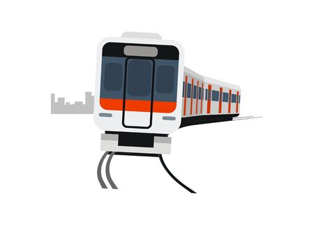 Short commuter train turning. Simple flat illustration