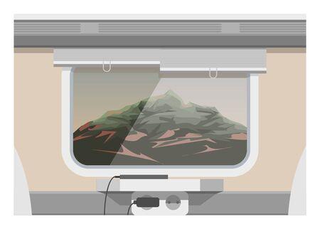 Mountain scenery from train window. Simple flat illustration Ilustracja