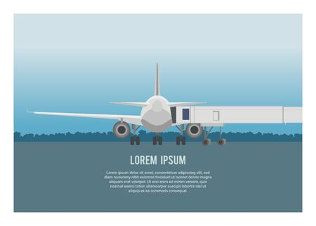 Airplane and airport bridge on an airport. Simple flat illustration