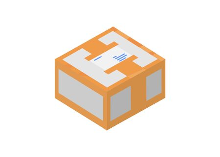 Tape sealed paper box. Simple flat illustration