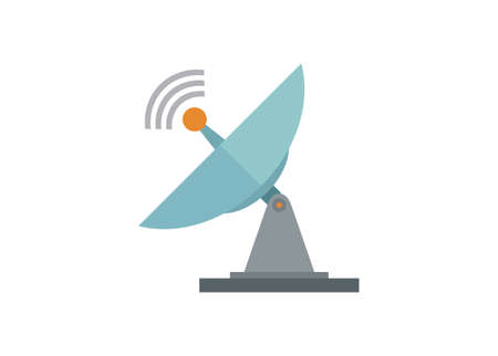 Satellite antenna. Simple flat illustration