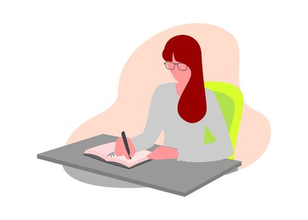 A girl writing on a book. Simple flat illustration