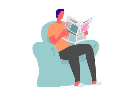 Person reading newspaper. Simple flat illustration