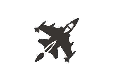 Single tail jet fighter. Simple icon in black and white Zdjęcie Seryjne - 151190496