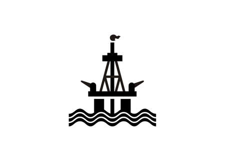 Offshore oil rig. simple illustration in black and white
