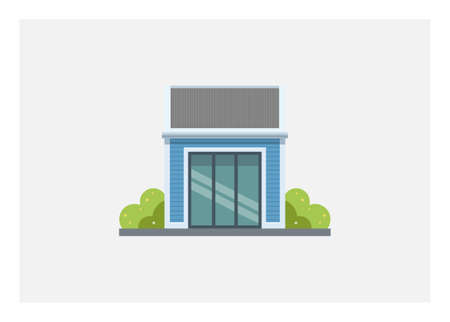 Small wooden building with tin roof and sliding glass door. Simple flat illustration.