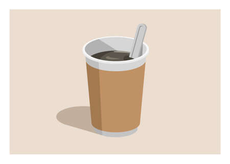 Hot coffee drink in a plastic cup. Simple flat illustration Ilustracja