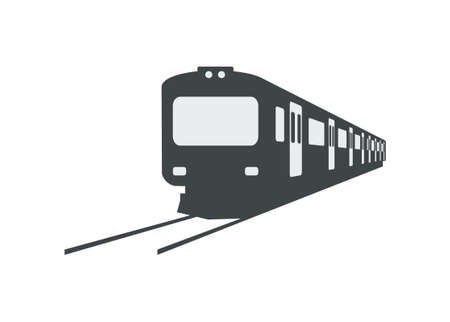 Short commuter train. Simple silhouette illustration Ilustracja