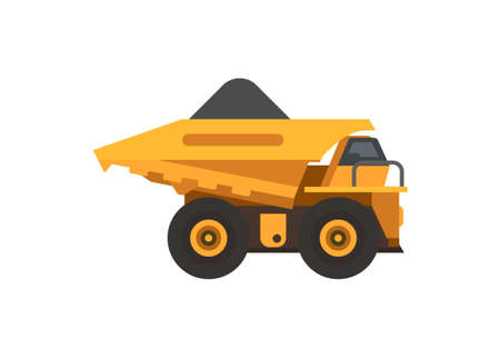 Mine truck carrying ore. Simple flat illustration  イラスト・ベクター素材